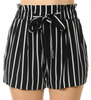 Black & White Spookshow High Waist Striped Shorts