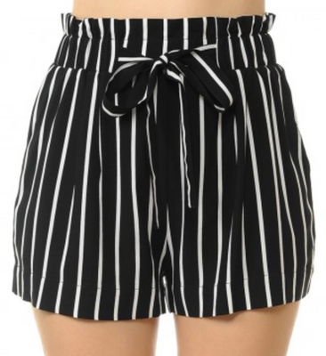 Spookshow High Waisted Striped Shorts in Black & White