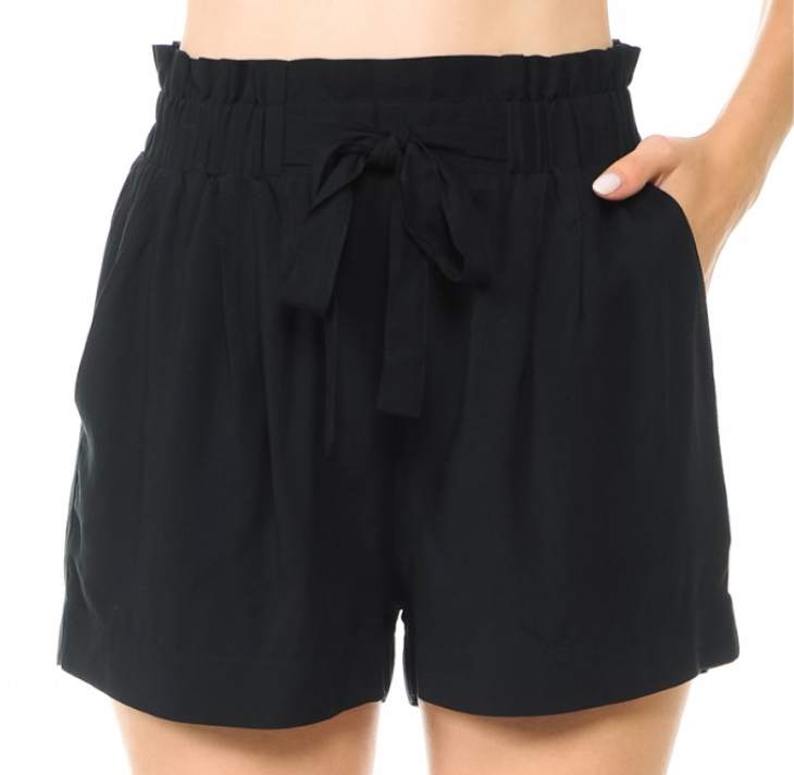 Black High Waist Stretch Waist Shorts