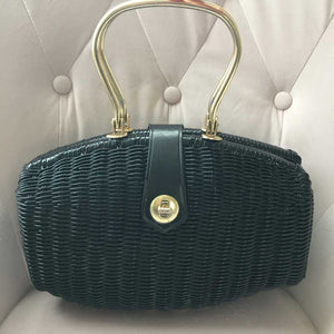 Black Vintage Deco Style Wicker Handbag