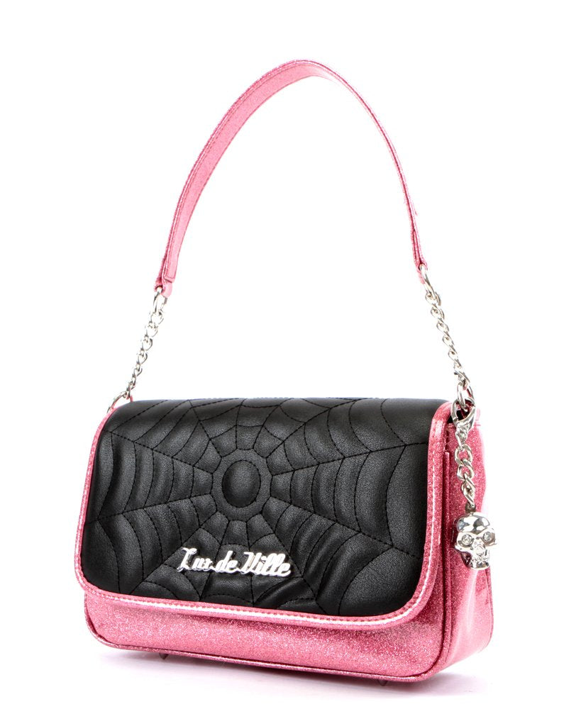 Lux De Ville Black Widow Handbag in Pink Sparkle