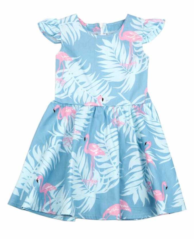 Flamingo Dress in Mint or Blue