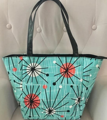 50's Retro Sputnik Tote Handbag in Turquoise Mint