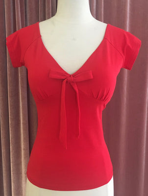 Red Miss Vintage Bow Tie Top