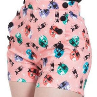 Pink Retro Kitty Cat Atomic Print Shorts