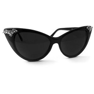 Black Silver Batty Cat Eye Sunglasses