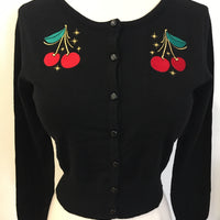 Atomic cherry embroidered mak cardigan sweater rockabilly pinup retro