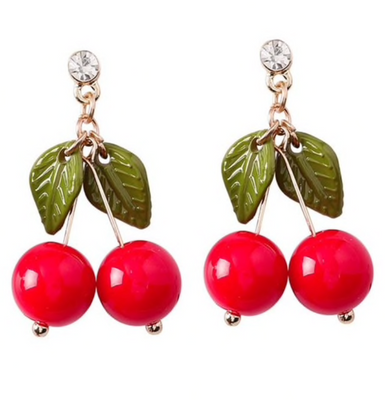 Retro Cherry Gal Drop Stud Earring