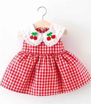 Baby Doll Cherry Gingham Dress in Red or Pink