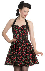 Cherry Pop Halter Dress in Red & Black