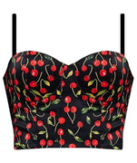 Cherry Print Crop Top with Padded Bust