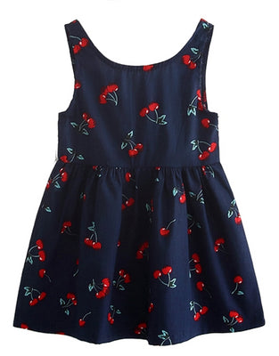 Retro Kids Cherry Dress in Navy