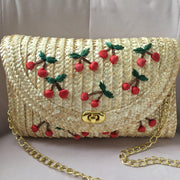 Summer Cherry Straw Crossbody Handbag