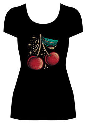 Atomic Cherry Tee - Black or Heather Beige