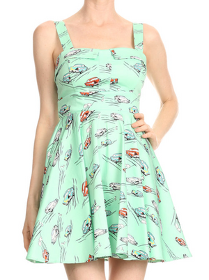Classic Car Swing Dress in Mint Green