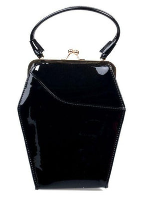 To Die For Coffin Handbag in Patent Vinyl - Available in Black or Red