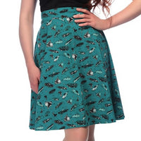 50s Car Print Swing Skirt in Teal by Collectif