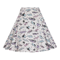 50's Car Print Swing Skirt in Ivory by Collectif