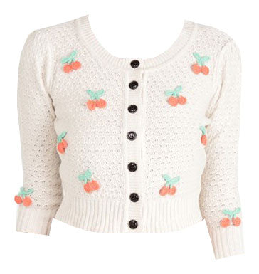 Cream Cherry Knit Cardigan Sweater