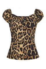 Mainline Dolores Peasant Top in Leopard by Collectif