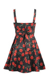 a-line cherry printed dress, classic retro look, love, Fitted bust waist line, a-line, cherrys, dress, fitted, fitted waistline, made in USA, print
