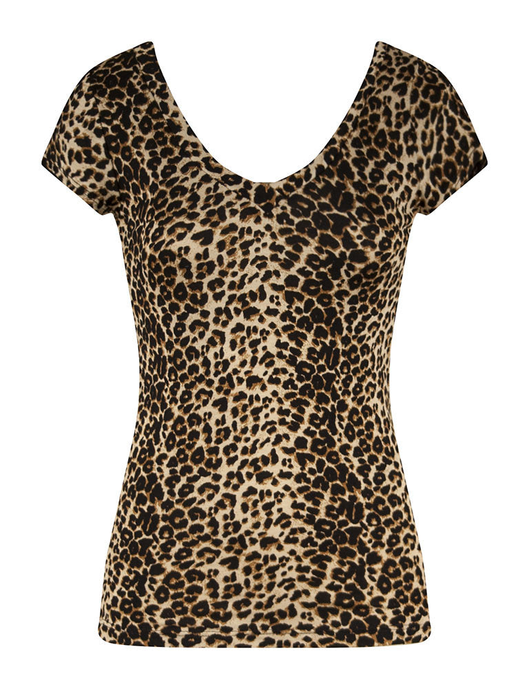 Stretchy V-Neck Leopard Tee