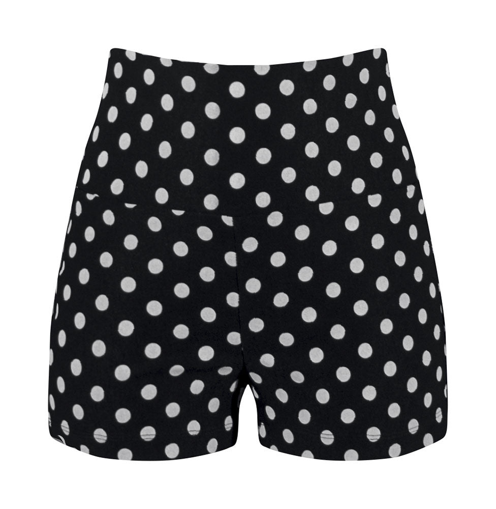 High Waisted Polka Dot Shorts - Black