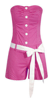 Polka Dot Romper in Fuchsia Pink - FINAL SALE