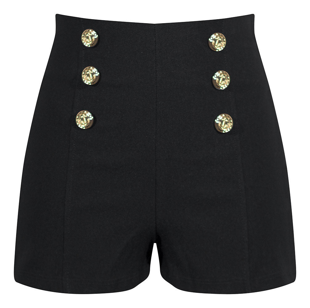 High Waisted Shorts with Anchor Buttons in Black