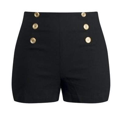 High Waisted Sailor Shorts in Black