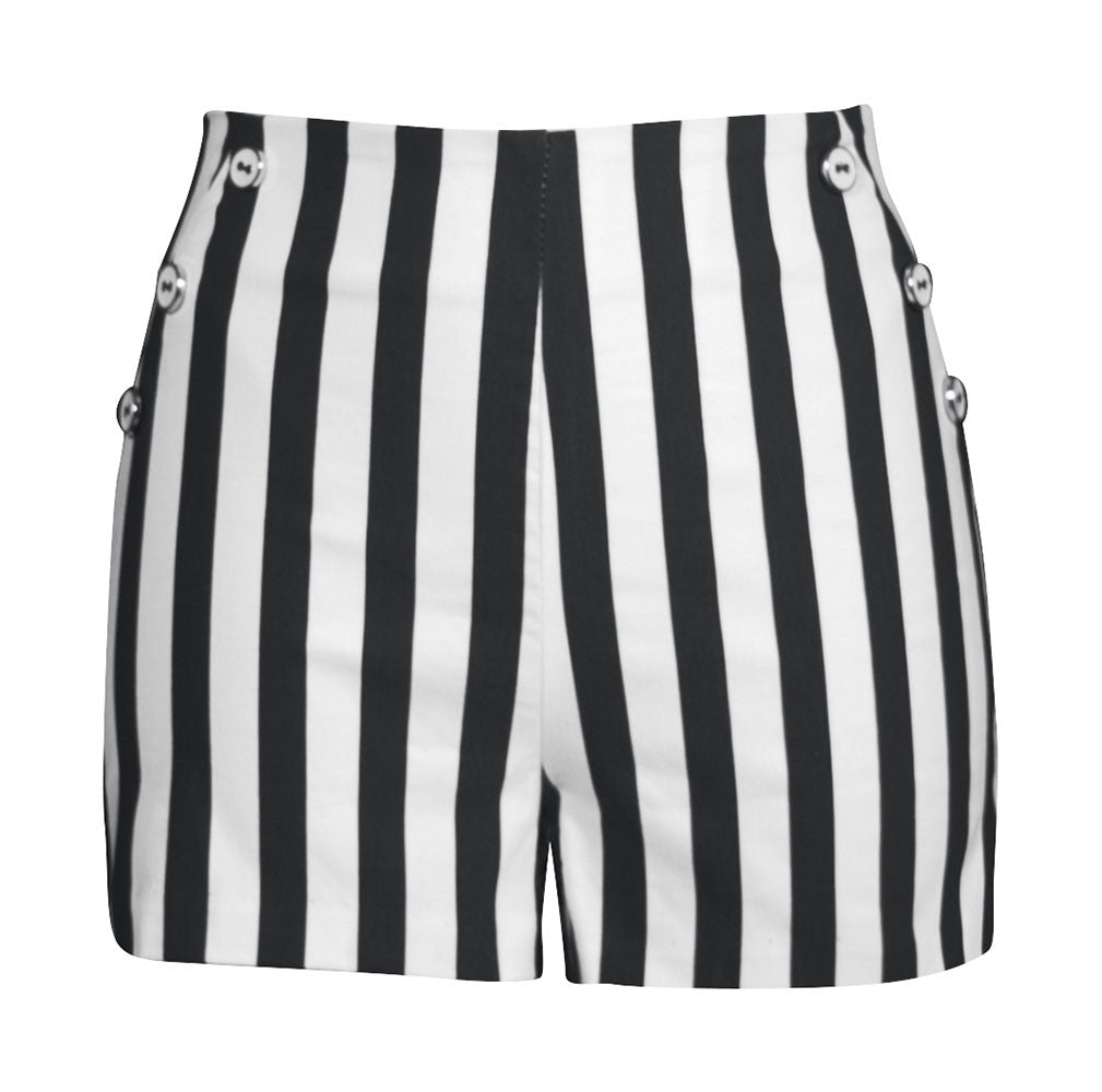 Retro HIgh Waisted Stripe Shorts - Black