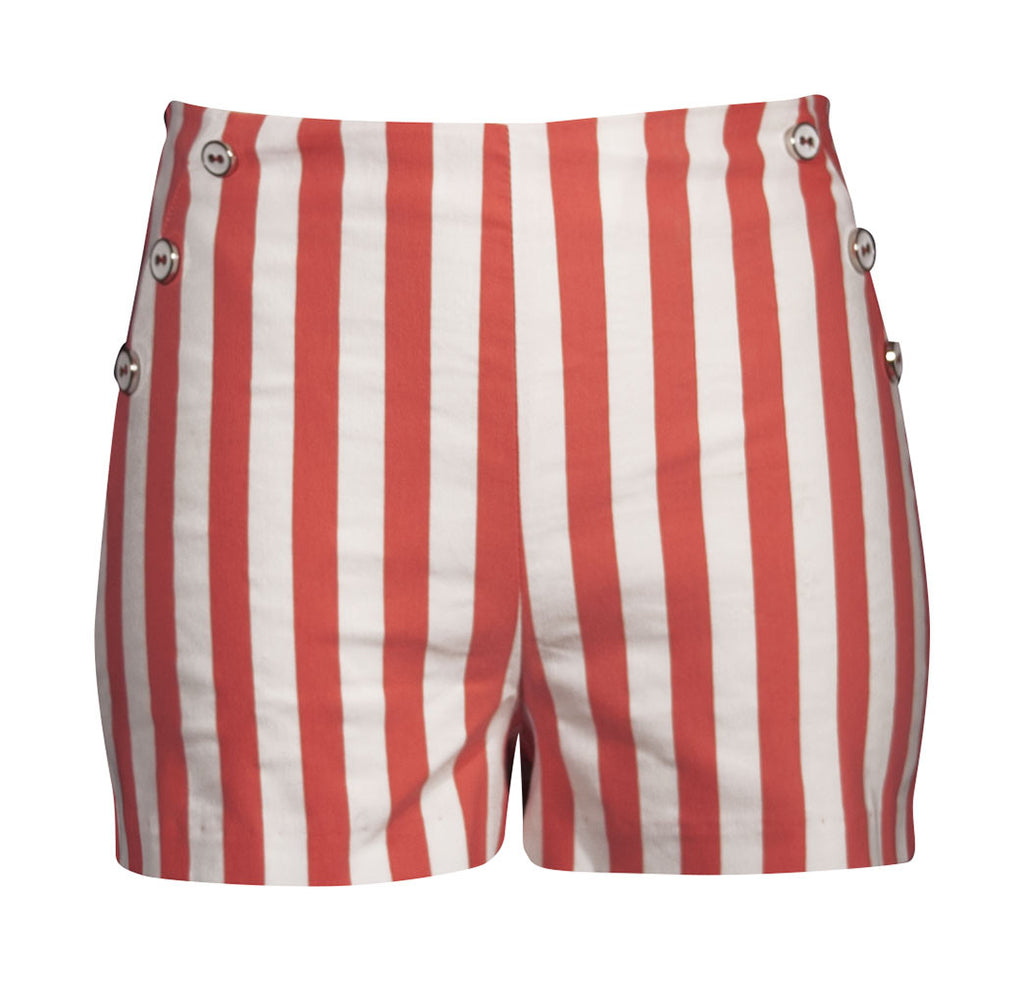 Retro HIgh Waisted Stripe Shorts - Coral
