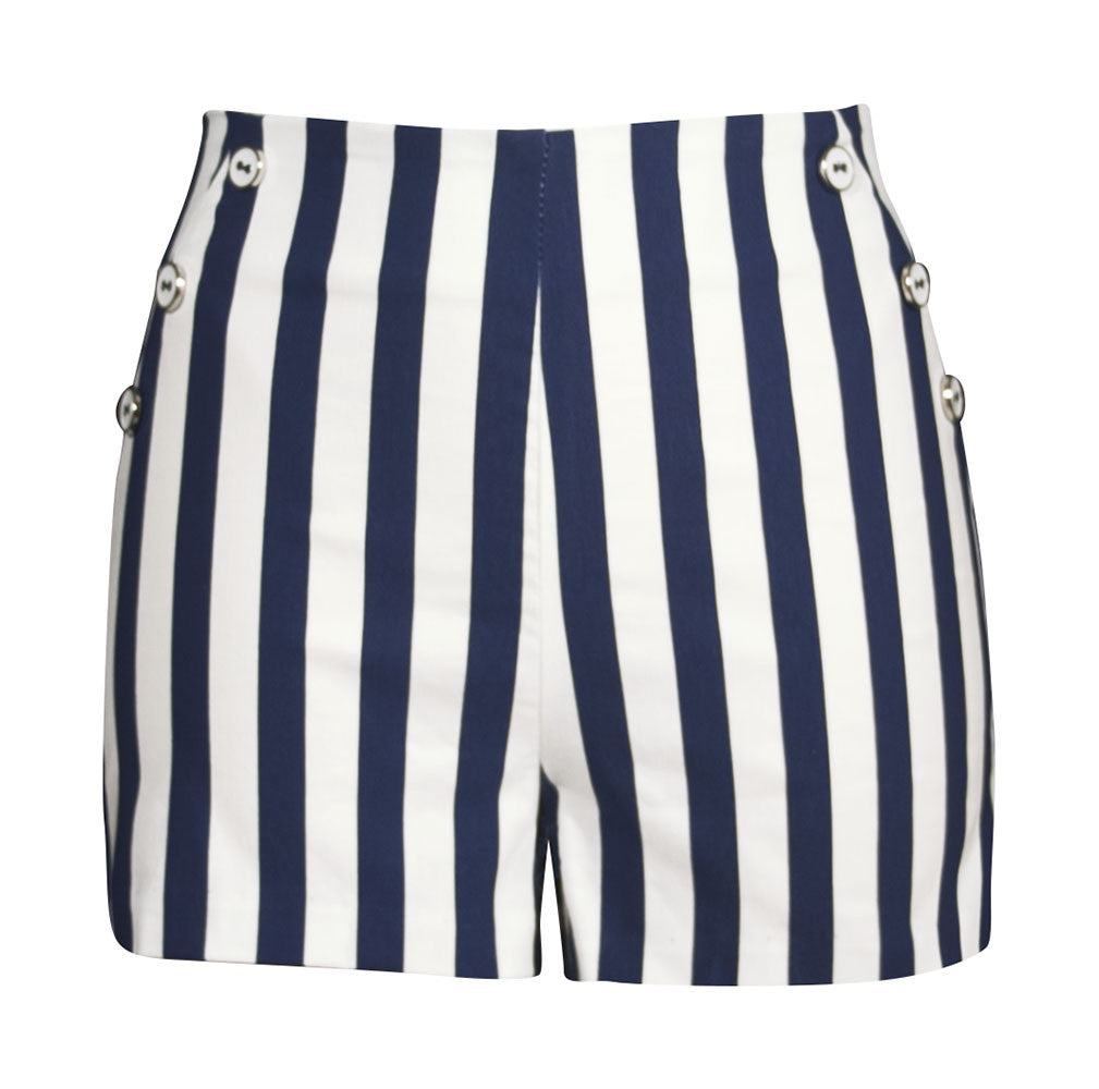 Retro HIgh Waisted Stripe Shorts - Navy