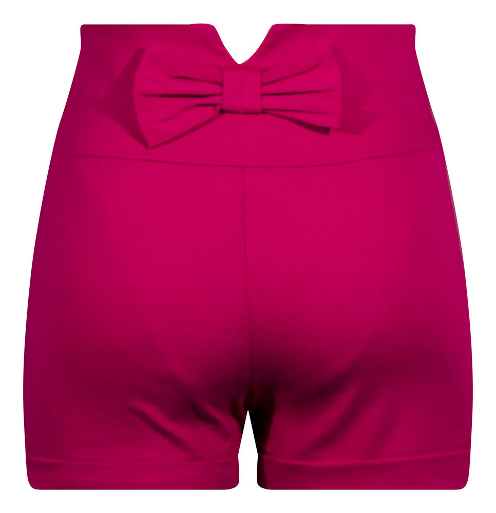Bow Back High Waisted Shorts - Fuchsia