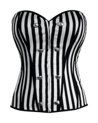 corset details button, lace up back, hook closures, down front, comfortable fabric, black, white corset top, lace up back sailor button stretchy striped,