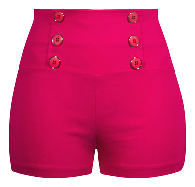 pin up inspired retro style shorts, stretch bengaline fabrication, perfect pin up, bengaline, fuchsia, high waisted shorts, stretchy, rockabilly, car, show, 50's