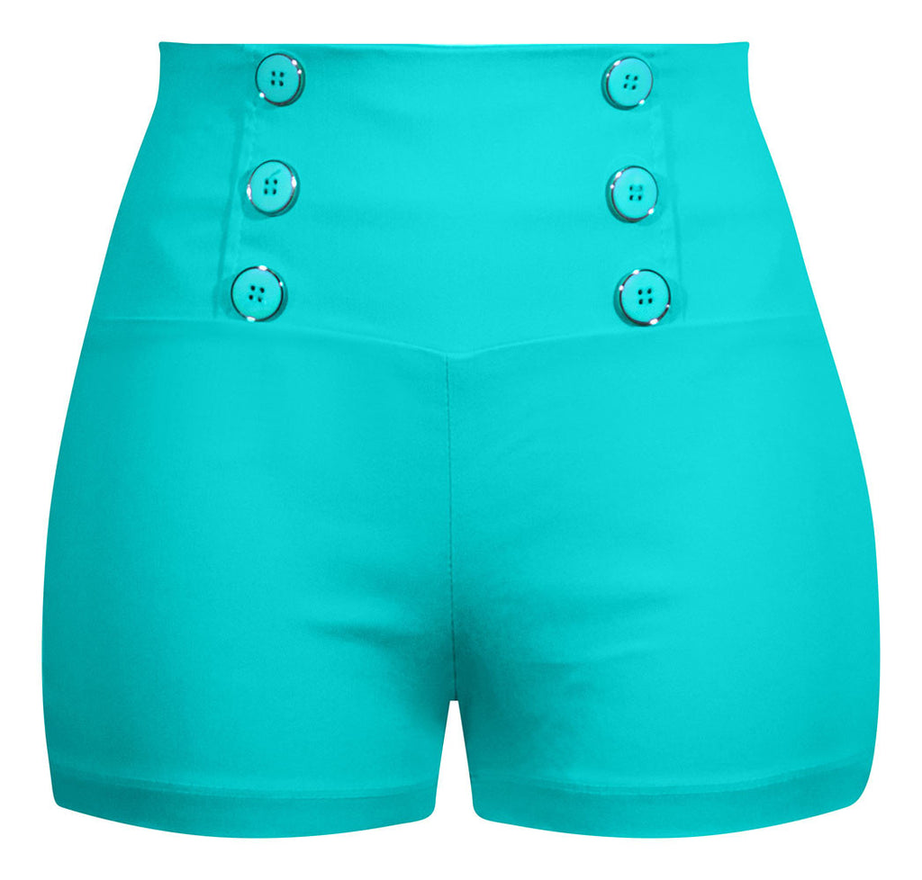 High Waisted Retro Shorts - Mint