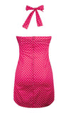 Polka Dot Halter Dress - Fuchsia