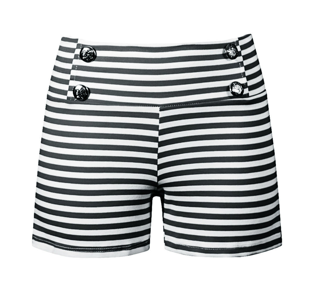 Sailor Girl Striped Shorts in Black