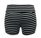 throw on shorts, summer, Super, flattering, stretchy, superior, comfort, black and white, high waisted shorts, stretchy, striped, zipper, pin up, rockabilly,