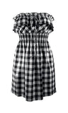 All Over Gingham Print Dress - Black & White