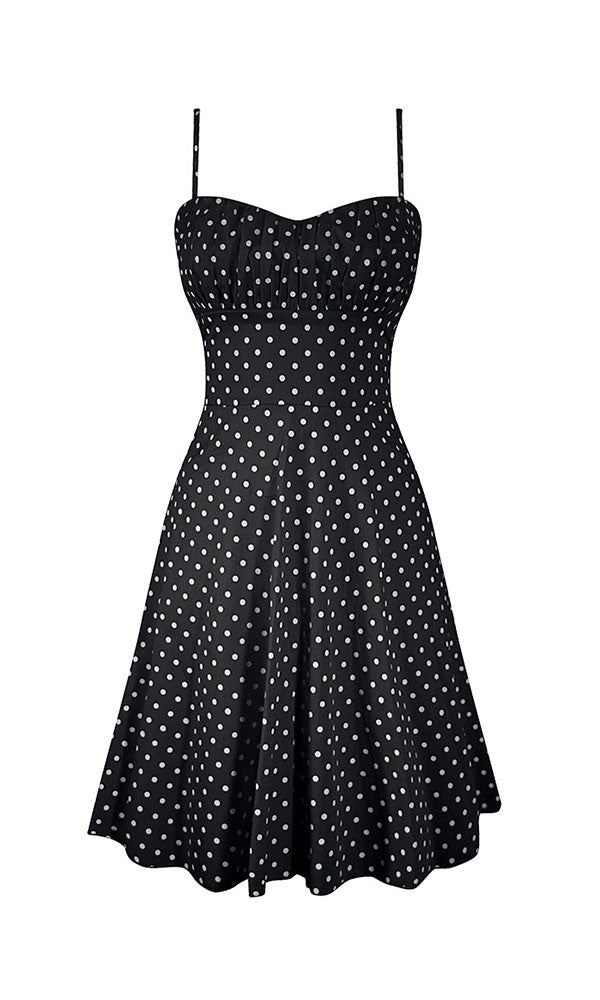 -line, polka dot dress, beautiful fit, Smocking back, ruched bust, impeccable look, black, white, red, rebel, circus, rockabilly, goth, punk, made in usa, swing