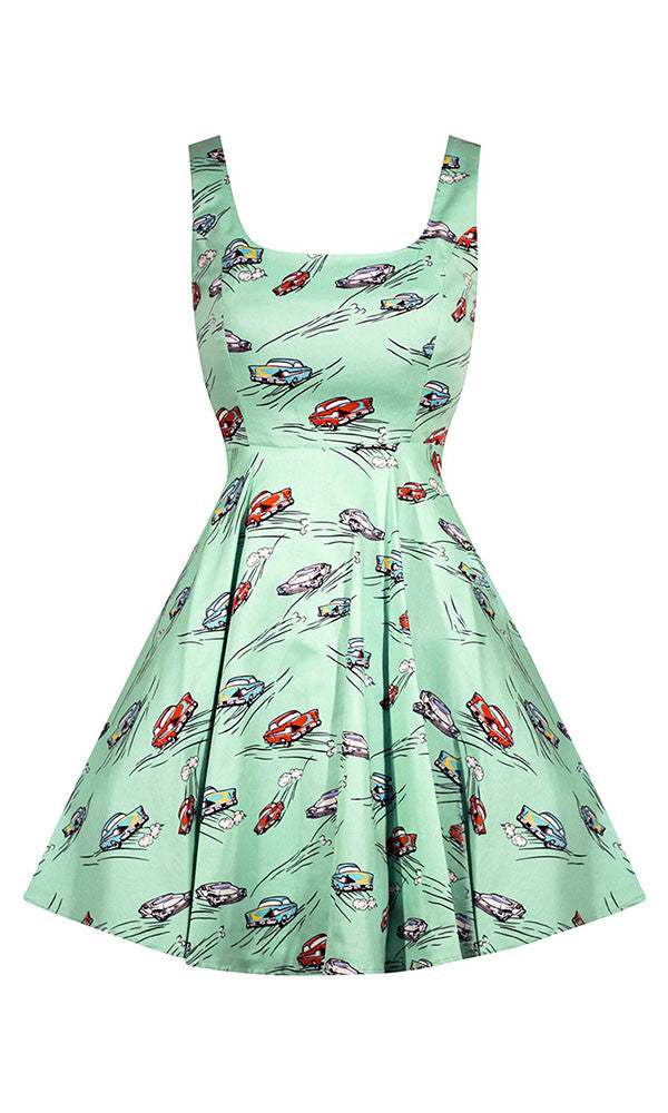 Classic Car Dress in Mint Green