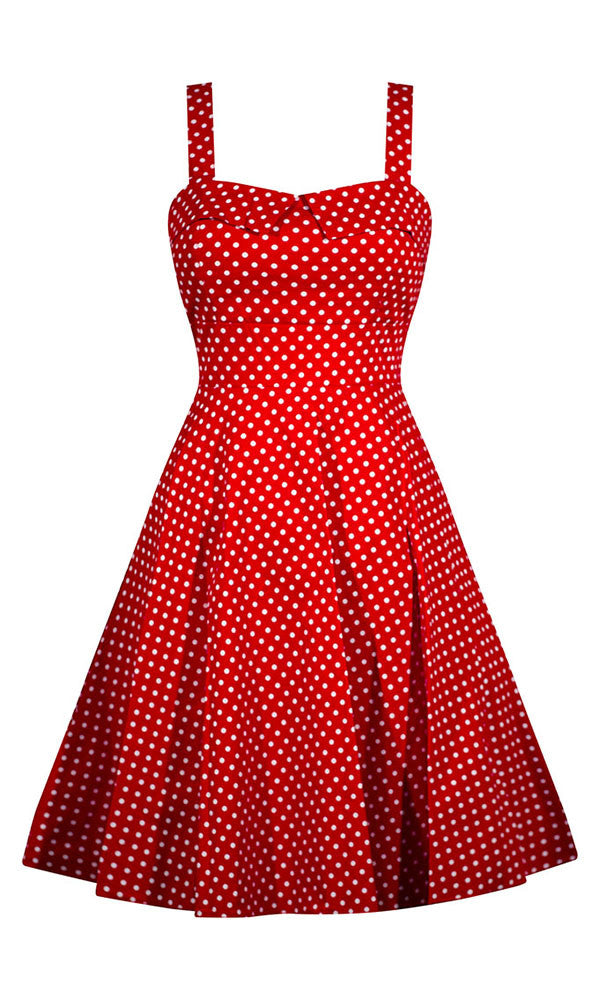 aa30d34d87b Retro Pinup Rockabilly Polka Dot Dress - Red – Double Trouble Apparel