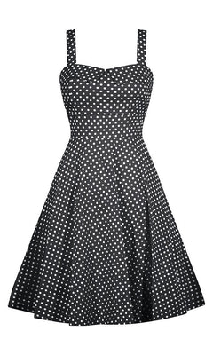 full skirted, polka dot, swing dress, beautiful fit, Smocking, back, sweetheart bust, impeccable look, black, mint, made in usa, pin up, rockabilly, car show