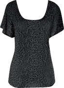 Leopard Burnout Top in Black and Charcoal - FINAL SALE
