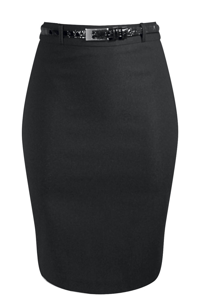 Bengaline Stretch Pencil Skirt - Black