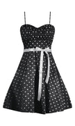 Polka Dot Swing Dress with Crinoline Petticoat in Black