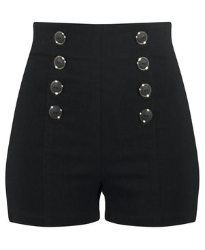High Waisted Pin Me Up Shorts in Black. Retro Pinup Button Rockabilly Short