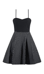 Polka Dot Dress with Tooling - Black